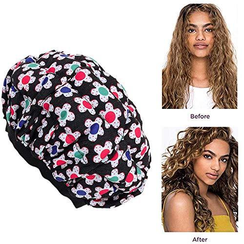 Hamkaw - Cuffia termica per capelli, senza fili, adatta al microonde, con 10 cuffie usa e getta, da usare con olio o balsamo per capelli a penetrazione profonda e cuoio capelluto