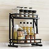 Venkaite Estantería plegable para especias, organizador de 2 niveles, para cuarto de baño, cocina, con 3 ganchos para tarros de especias, salsas, botellas (negro, acero)