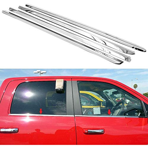 Sizver Polished Stainless Steel Window Sills Trims For 2009-2017 Dodge Ram 1500 Crew Cab/Mega Cab ^rear window sill measures at 33' not 24.5'^