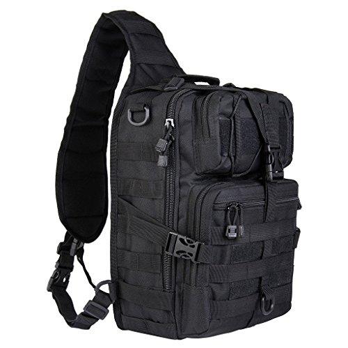 Riavika 20L Petite Molle tactique Sling Pack – Compact et polyvalent – Lot d'épaule, Sac à dos, Coffre Lot, ou de la main Transporter – Style Militaire Assault Sac à dos, noir