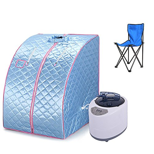 Wefun Zuhause Dampfsauna,1000W 220V Portables Dampfbad,Saunas SPA Blau