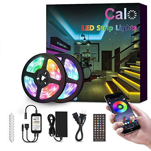 LED Strip Lights, Calo 32.8ft Strip Waterproof RGB Colored Rope Light Music Sync 5050 LED Tape Lights, Flexible Color Changing, App Control with Remote, 7 Scenes Mode for Bedroom, Room, Kitchen, Party