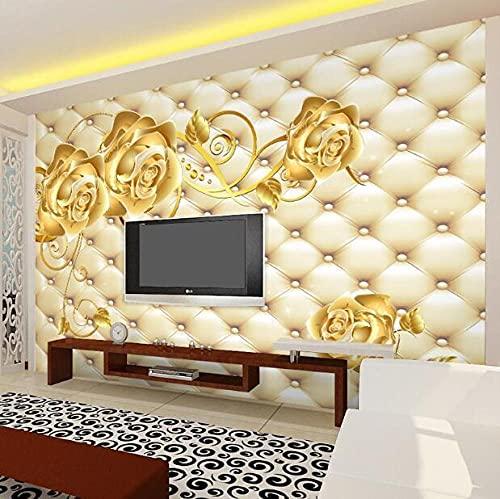 Custom European 3d soft pack wallpaper living room bedroom TV background wall paper atmosphere luxury seamless wall covering mural-300x210cm