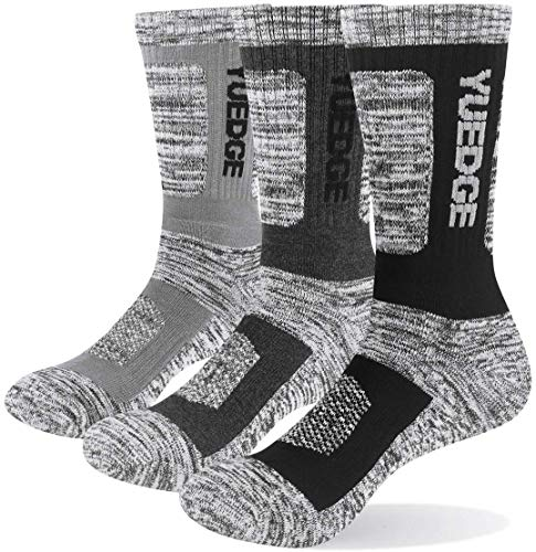YUEDGE Men s Breathable Cushion Crew Sports Hiking Walking Socks Thick Cotton Thermal Work Socks for Men 6-11 9-12 3 Multipack L