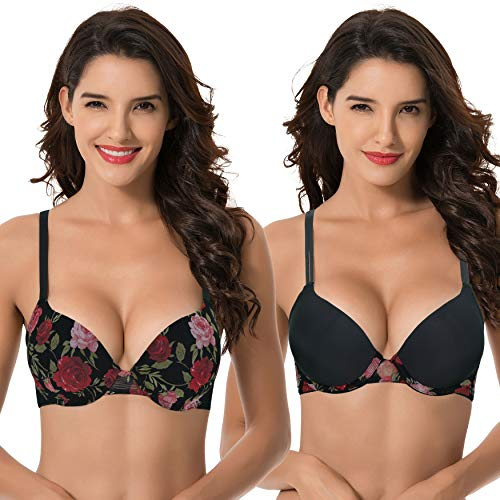 Curve Muse Women's Plus Size Perfect Shape Add 1 Cup Push Up Underwire Bras-2PK-BLACK Print,BLACK-46B