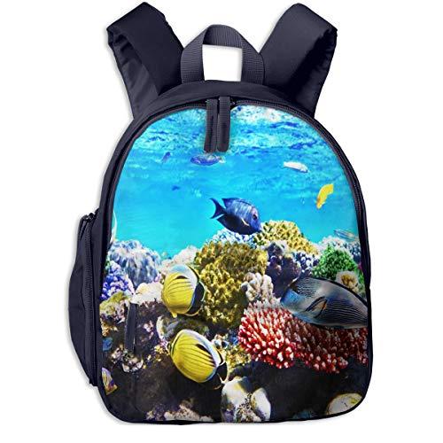 Sac à Dos pour Enfant Maternelle Aquarium Coral Fish Sea Sacs D'école Bandoulière Réglable Unisexe Garçon Et Fille Cartable pour Quotidien Et Voyage