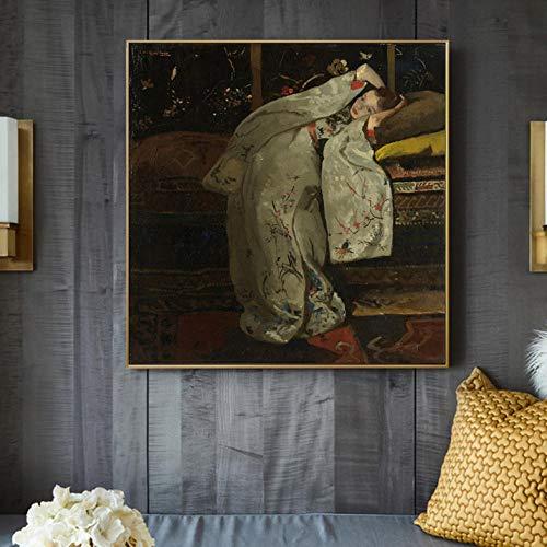 Wieoc Chica En Un Kimono Blanco, Arte De Pared, Pinturas De Lienzo, Reproducciones De Imágenes para La Decoración De La Sala De Estar 50X50 Cm