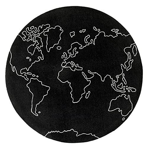 CXIA Línea Redonda Mapa Mundo Aventuras Alfombra Sala de Estar,Manta Juego Tapetes para Gatear Niños Pequeños Diversión en el Suelo Juego Gimnasio Estera 13 mm de Espesor(Size:100cm,Color:Black)