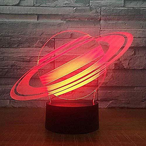 Zeichentrickfiguren 7 Farbwechsel Saturn 3D Illusion Nachtlicht Planet LED USB Tischlampe Kreative Schlafzimmer Dekoration Bestes Geschenk Spielzeug Kreative Animation Lampe