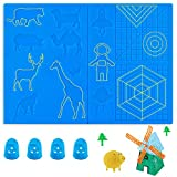 3D Pen Mat, 11.3 x 7.9 Inches Large 3D Printing Pen Mat Silicone Basic Template with 4 Finger Protectors, 3D Pen Drawing Tools, Gift for 3D Beginners/Kids/Adults (Blue Set 2)