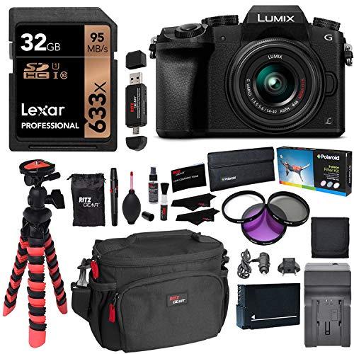 Panasonic LUMIX DMC-G7KK DSLM 4K Camera (Black), 14-42 mm Lens Kit, Lexar 32GB Memory Card, Ritz Gear Tripod, Camera Bag, Cleaning Kit, Card Reader, Filter Kit, Battery, Charger and Accessory Bundle