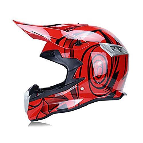 CZLWZZD Helm Motocross-Motorrad Full Face 3 Ausführungen, 4 Größen Mit Reitbrille Geeignet für Herren Motorrad Roller DOT-Zertifizierung (54-61CM)