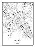 Bild auf Leinwand Deutschland Bonn Stadtkarte Bilder