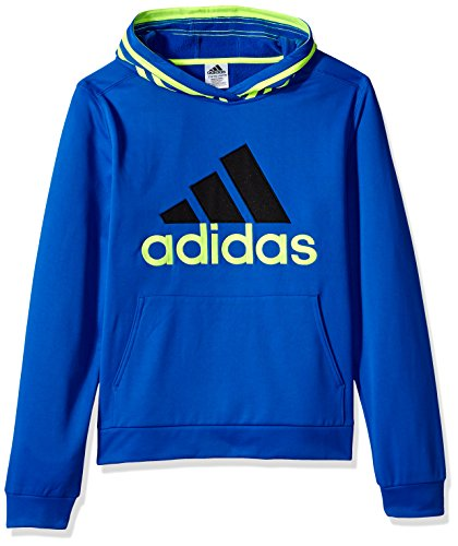 adidas Boys' S Active Sport Athletic Pullover Hooded Sweatshirt, Blue Lime