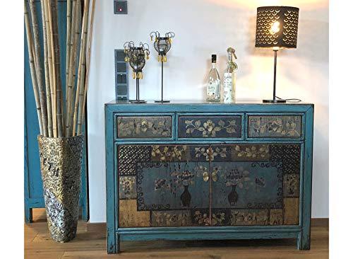 OPIUM OUTLET China Sideboard asiatische Vintage Kommode Antik-Stil Schrank Asia Anrichte Buffet blau aus Holz