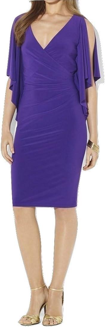 LAUREN RALPH LAUREN Tanzan Matte Jersey Cascade Sleeve Dress, Vivid Purple