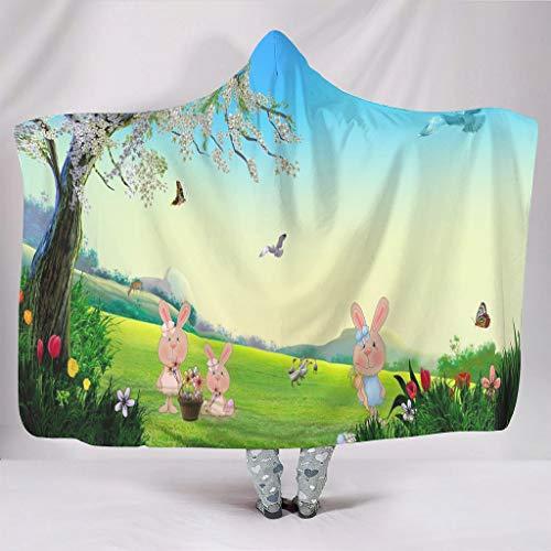 WellWellWell Manta de pelo con forma de conejo de Pascua con capucha, para adultos y niños, color blanco, 130 x 150 cm