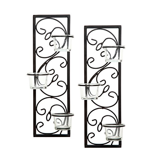 Hosley Set of Two 13.75 Inch High Black Iron Tealight Wall Sconce. Handmade by Artisans