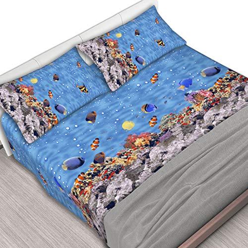 Centesimo Web Shop Completo Lenzuola Letto 2 Misure 100% Cotone Maxi Stampa Pesci Oceano Coralli Acquario Mare Spiaggia Marino - Due piazze Blu