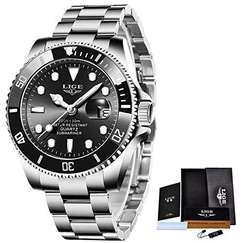 Legxaomi Reloj de hombre 2021, Reloj de lujo de moda de buceador, Hombres 30atm impermeable fecha reloj deportivo reloj de cuarzo de los hombres, El mejor regalo de los hombres Silverblack