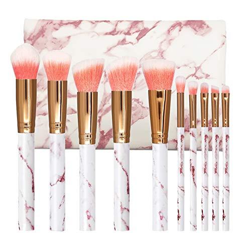 NEVSETPO Schminkpinsel mit Kosmetiktasche Stylischer Schminkpinsel für Mädchen Teenager Kinder für Kabuki Foundation Puder Concealer Lippen Lidschatten (Marmorrosa)