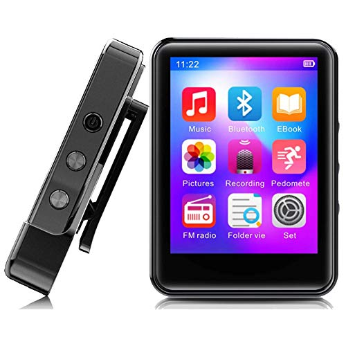 MP3 Player,32GB MP3 Player with Bluetooth 5.0,Portable Music Player with FM Radio/Recorder,HiFi Lossless Sound Quality,2.4Inch Touch Screen Mini MP3 Player for Running,Metal Shell Black