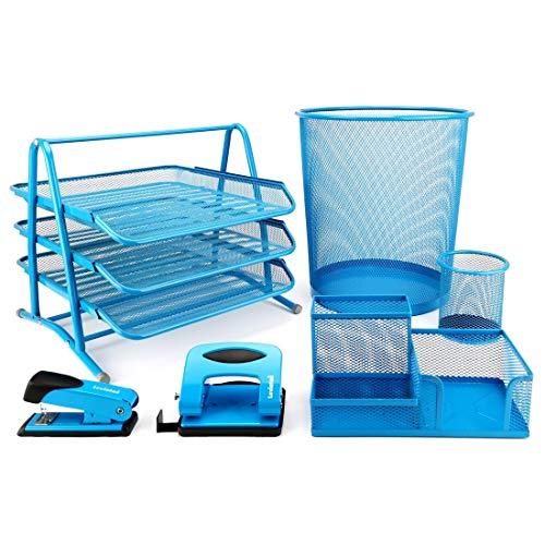 Leviatan 1410 Schreibtischset Schreibtisch Organizer Ordnungssystem Tisch Organizer Metall Stifteköcher Multifunktions Heftgerät Locher Büroorganizer Blau