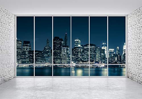 wandmotiv24 Fototapete 3D Panorama New York Nacht L 300 x 210 cm - 6 Teile Fototapeten, Wandbild, Motivtapeten, Vlies-Tapeten Sonnenaufgang, NYC M1703