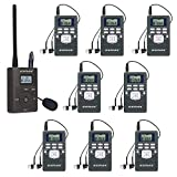 EXMAX EXG-108 DSP Stereo Wireless Headsets FM Radio Broadcast System for Tour Guide Teaching Meeting Training Travel Field Interpretation 1 Transmitter & 8 Receivers (Gray)