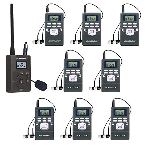 EXMAX EXG-108 DSP Stereo Wireless Headsets FM Radio Broadcast System for Tour Guide Teaching Meeting Training Travel Field Interpretation 1 Transmitter & 8 Receivers (Gray) (Wireless Headphones And Transmitter With Fm Radio)