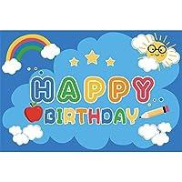 GooEoo お誕生日おめでとう背景7×5フィート漫画ブルービニール写真の背景カラフルな虹白い雲アップル鉛筆星太陽かわいい子供赤ちゃん子供パーティーバナースタジオフォト小道具