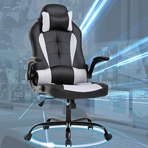 Gaming Office Chair, High-Back PU Leather Racing Chair, Reclining Computer Executive Desk Chairs with Lumbar Support Adjustable Arms Rolling Swivel Chair for Women, Men(White) chair gaming white