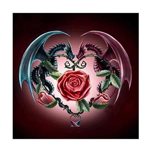 Kit de pintura de diamante DIY 5D por número, dragones con rosas de diamantes de imitación bordados de punto de cruz, suministros para artes, manualidades, lienzo, decoración de la pared 28 x 30 cm