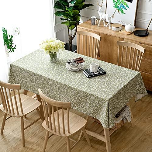 Mantel Verde con Volantes, Mantel de Lino y algodón Impreso, Mantel Rectangular, Mantel Decorativo, Textil Y140x200cm