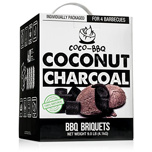 Coconut Charcoal Long-Burn BBQ Briquettes | Organic Barbecue Charcoal Made from Natural Activated...