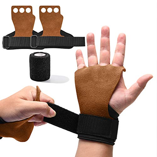 ONLYWIN 3 Hole Natural Leather Hand Grips Crossfit for Women, Men Palm Protector for Pull-ups, Lifting Gymnastic Crossfit Gloves with Wrist Wraps for Hand Protection,Middle