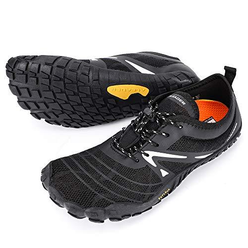 ALEADER Men's Barefoot Running Shoes Wide Toe Shoes for Gym Workout Fitness Black 9.5 M US Men