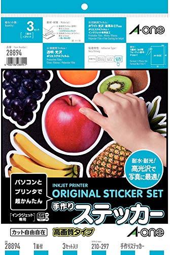 エーワン 手作りステッカー 高画質 3セット 28894 【× 2 パック 】