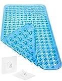 Homerella Badewannenmatte Hautsensitiv 88x39cm, INKL. AUFHÄNGUNG | Antirutschmatte Badewanne BPA frei | Rutschmatte Badewanne schimmelresistent & maschinenwaschbar | Badematte rutschfest (Blau)