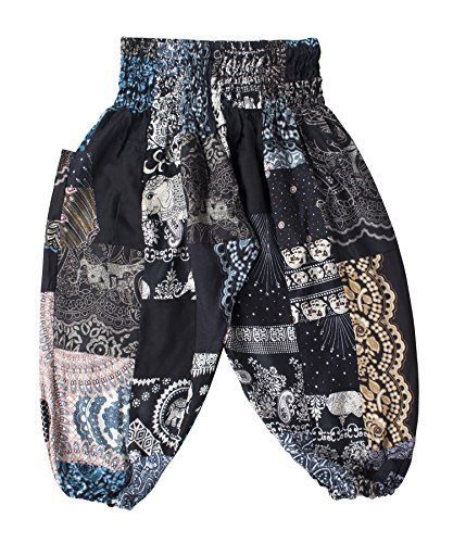 LOFBAZ Cute Harem Pants for Baby Girls Boys Kids Toddler Boho Hippie Aladdin Clothes Summer Yoga Outfits Boutique Clothing Black 12-13Y