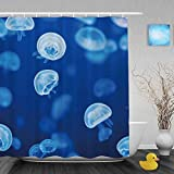 Pequeños Animales Marinos decoración de Medusas Cortina de Ducha de baño Luz Azul Cortinas de Ducha de Acuario Tela de poliéster Impermeable a Prueba de Moho Azul 72 X 72 Pulgadas