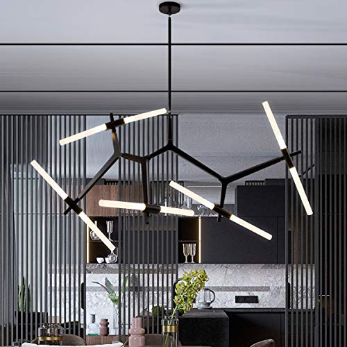 Weesalife Sputnik Modern Chandelier 10-Lights with Frosted Glass Shade, Pendant Lighting Fixture, Matte Black & Industrial Retro Style, for Dining Room, Living Room, Kitchen Island, Hotel, Farmhouse