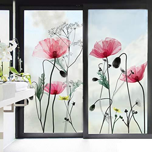 decalmile Pegatinas de Pared Flor de Amapola Vinilo Adhesivo para Cristal Flores Vinilo Ventana Dormitorio Sala Oficina Hotel