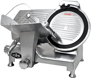KWS Metal Collection Commercial 420W 12-Inch Meat Slicer MS-12DT Anodized Aluminum Base with Teflon Blade + Blade Removal Tool, Frozen Meat/Cheese/Food Slicer Quiet Commercial and Home Use