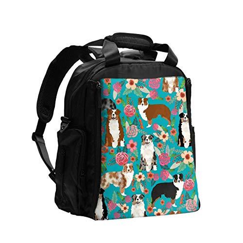 Pastor australiano perros flores de gran capacidad multifunción bolsa de pañales mamá papá bolsa de cuidado de bebé bolsa de pañales bolsa de enfermería