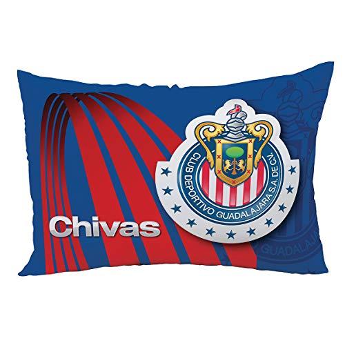 Íntima Hogar por Alviria, Almohada Decorativa Club Chivas, Tamaño Estándar (50 x 70 cm), Almohada Guadalajara Fútbol, Color: Rojo Blanco.