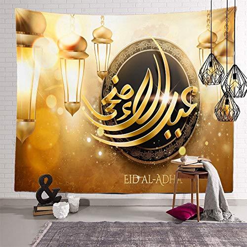 PPOU Tapiz de Ramadán Luna islámica Eid Mubarak Religión Festival Tapices para Colgar en la Pared para la decoración de la habitación de la Iglesia Alfombra de Pared A4 100x150cm