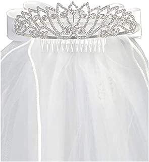 Girls First Communion Rhinestone Tiara w/Satin Bow & 24� White Veil TL412