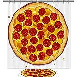 TIZORAX Pizza con rodajas de Pepperoni Baño Set de Cortina de Ducha con alfombras de baño Antideslizantes Alfombrilla Decoración del hogar