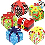 24 PCs 3D Christmas Goodie Boxes with Bow for Holiday Xmas Goodie Paper Boxes, School Classroom Party Favor Supplies, Candy Treat Cardboard Cookie Boxes.